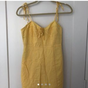 Yellow linen mini summer dress